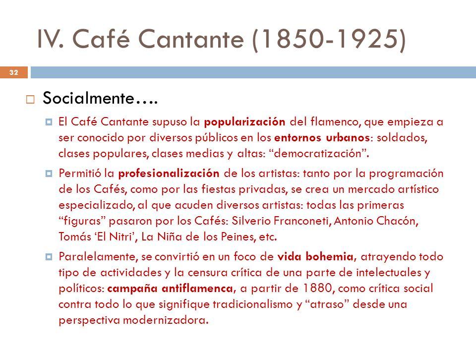 IV. Café Cantante (1850-1925) Socialmente…. El Café Cantante supuso la popularización del flamenco, que empieza a ser conocido por diversos públicos e