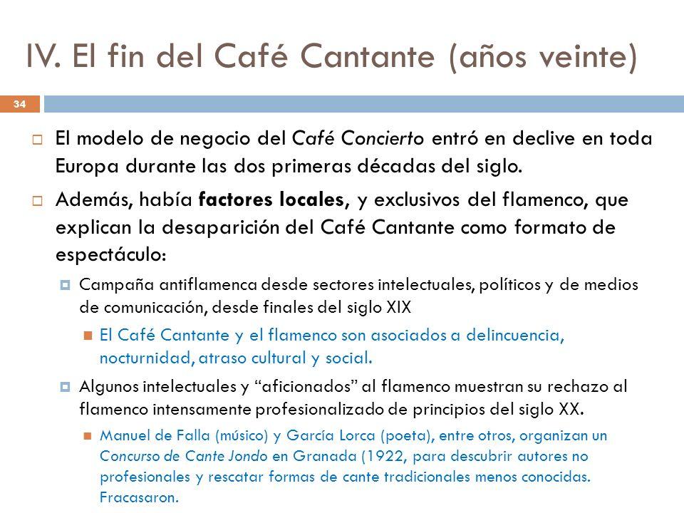 IV. El fin del Café Cantante (años veinte) El modelo de negocio del Café Concierto entró en declive en toda Europa durante las dos primeras décadas de