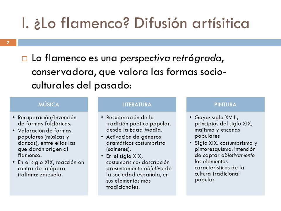 7 I. ¿Lo flamenco? Difusión artísitica Lo flamenco es una perspectiva retrógrada, conservadora, que valora las formas socio- culturales del pasado: MÚ