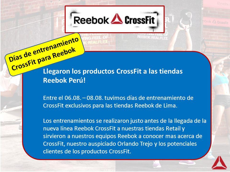 Los entrenamientos incluyeron: Capacitación previa sobre el concepto CrossFit, Charla sobre CrossFit dentro del Box en el Centro Naval por parte de Jaime Ayashiro (a cargo de CrossFit Perú) y Orlando Trejo (auspiciado Reebok) Entrenamiento CrossFit Competencia CrossFit – el ganador de cada equipo recibió una beca CrossFit Concurso para ganar premios CrossFit Desayuno Paleo Días de entrenamiento CrossFit para Reebok