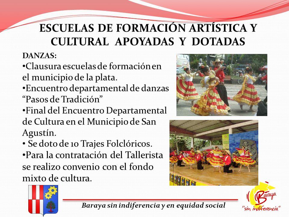 ESCUELAS DE FORMACIÓN ARTÍSTICA Y CULTURAL APOYADAS Y DOTADAS Baraya sin indiferencia y en equidad social DANZAS: Clausura escuelas de formación en el
