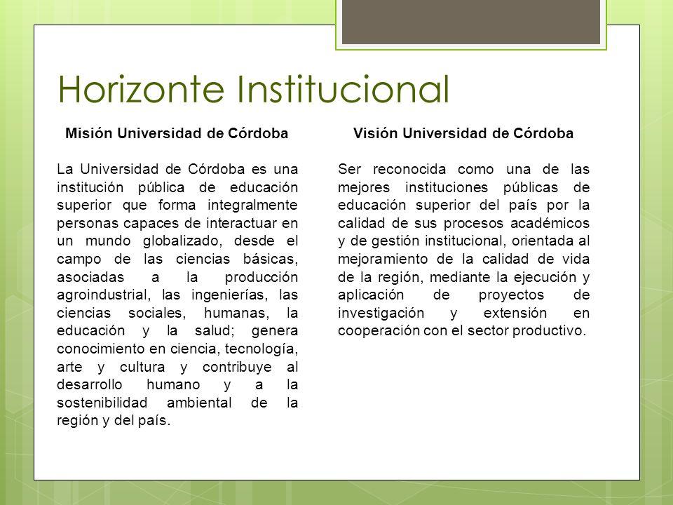 Horizonte Institucional Misión Universidad de Córdoba La Universidad de Córdoba es una institución pública de educación superior que forma integralmen