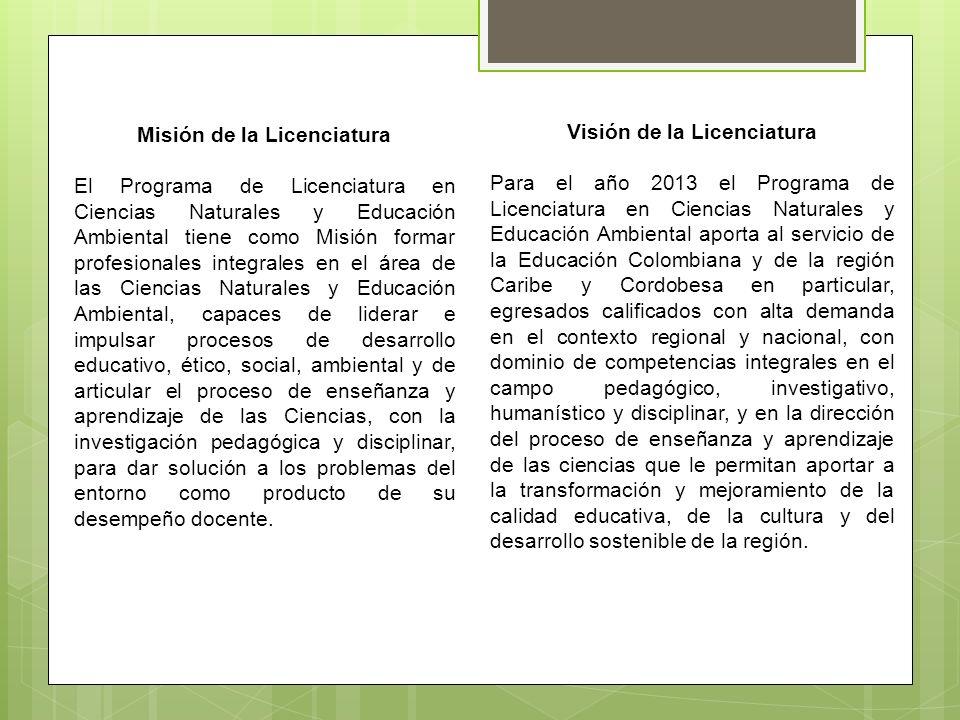 Visión de la Licenciatura Para el año 2013 el Programa de Licenciatura en Ciencias Naturales y Educación Ambiental aporta al servicio de la Educación