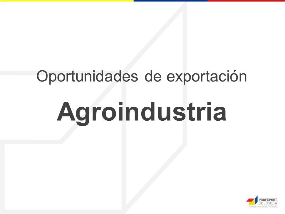 Oportunidades de exportación Agroindustria