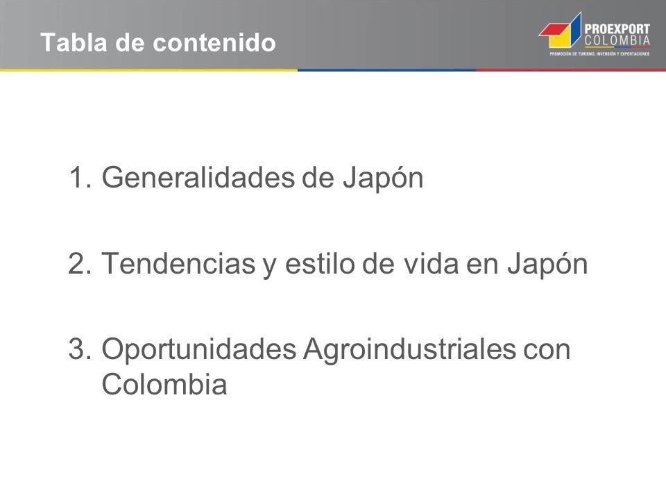 Tabla de contenido 1.Generalidades de Japón 2.Tendencias y estilo de vida en Japón 3.Oportunidades Agroindustriales con Colombia