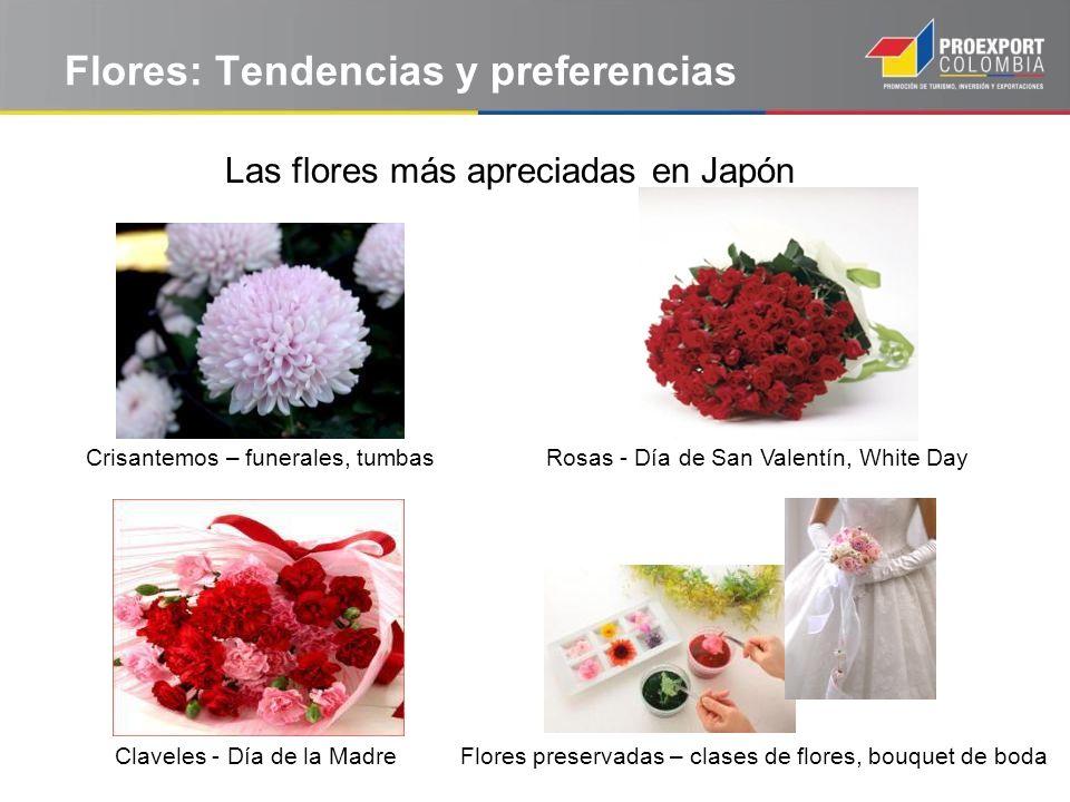Flores: Tendencias y preferencias Las flores más apreciadas en Japón Crisantemos – funerales, tumbasRosas - Día de San Valentín, White Day Claveles -