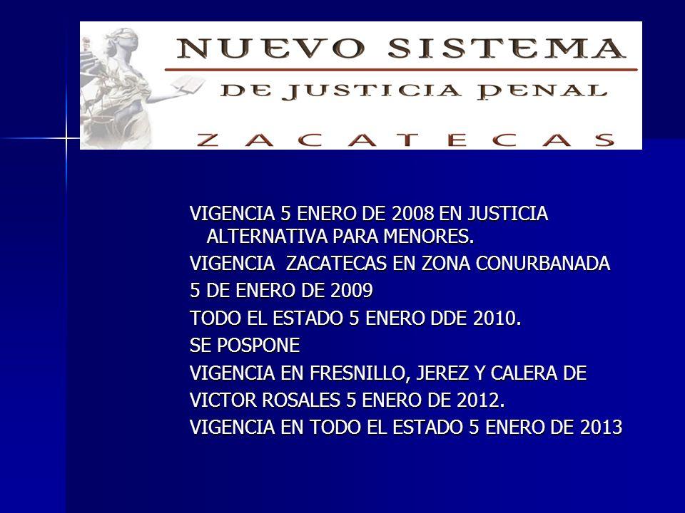 VIGENCIA 5 ENERO DE 2008 EN JUSTICIA ALTERNATIVA PARA MENORES. VIGENCIA ZACATECAS EN ZONA CONURBANADA 5 DE ENERO DE 2009 TODO EL ESTADO 5 ENERO DDE 20