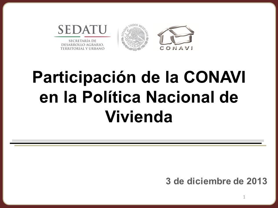 Participación de la CONAVI en la Política Nacional de Vivienda 3 de diciembre de 2013 1