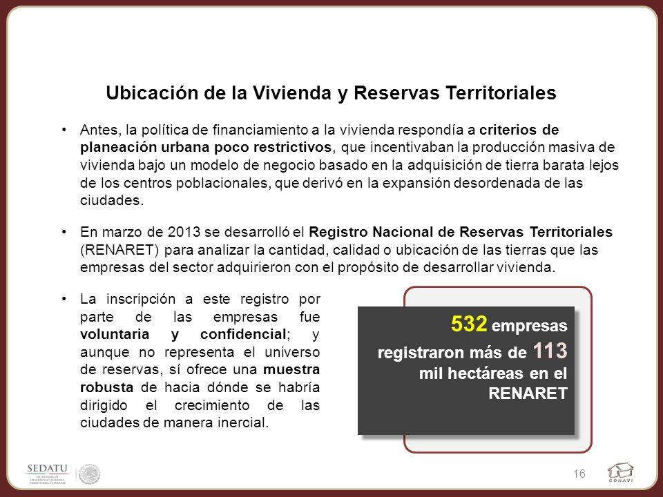 Ubicación de la Vivienda y Reservas Territoriales 16 Antes, la política de financiamiento a la vivienda respondía a criterios de planeación urbana poc