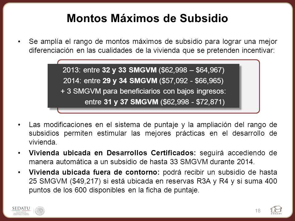 Montos Máximos de Subsidio Se amplía el rango de montos máximos de subsidio para lograr una mejor diferenciación en las cualidades de la vivienda que