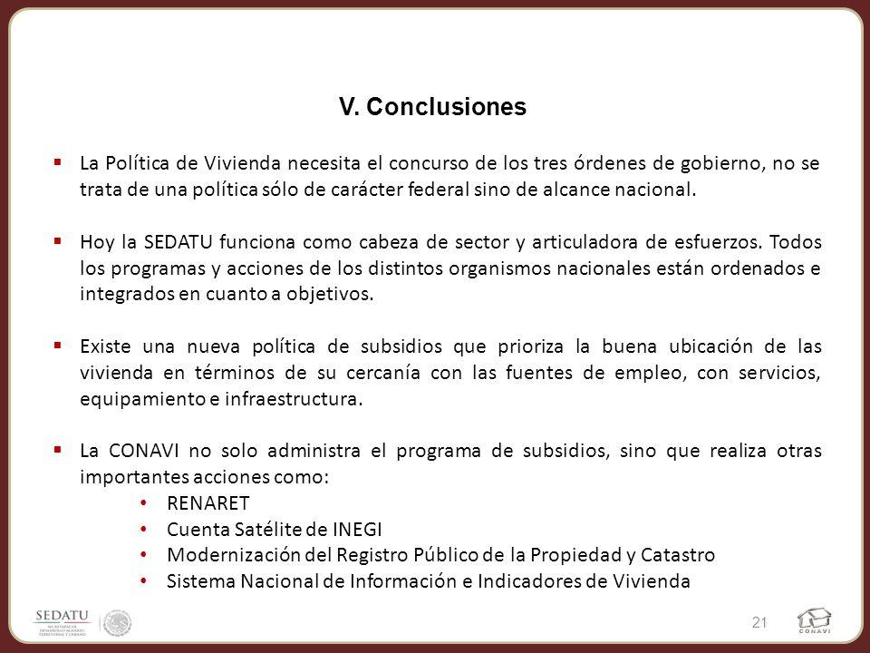 V. Conclusiones La Política de Vivienda necesita el concurso de los tres órdenes de gobierno, no se trata de una política sólo de carácter federal sin