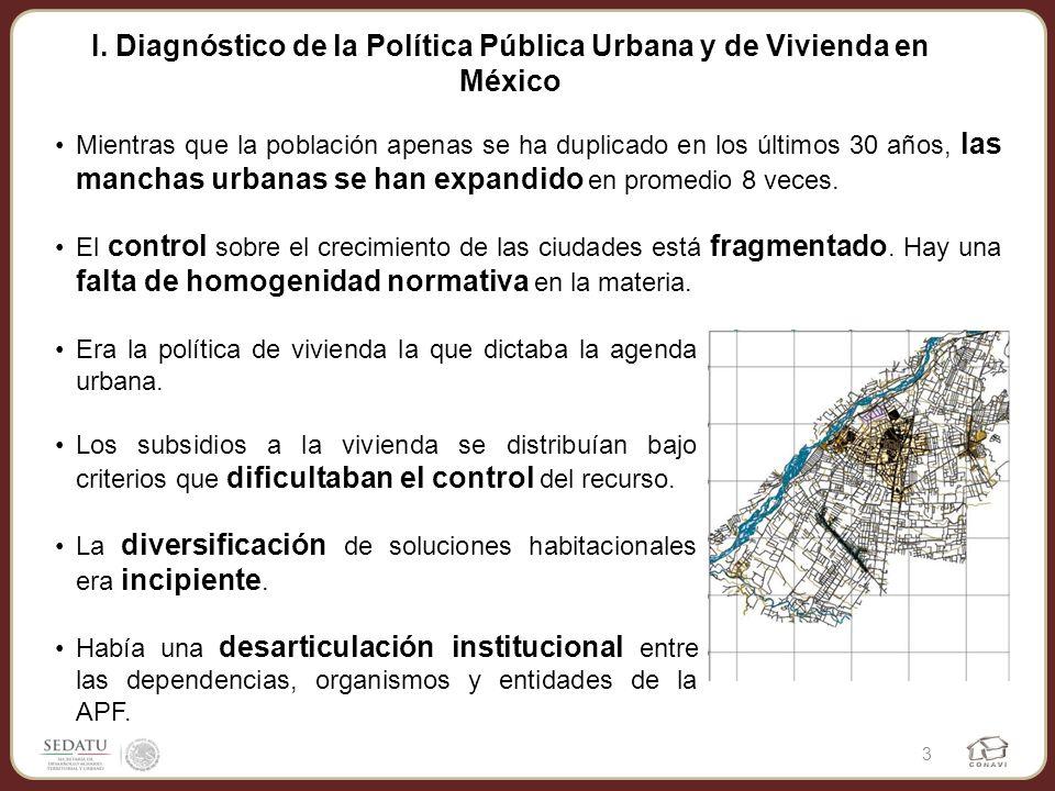 I. Diagnóstico de la Política Pública Urbana y de Vivienda en México Mientras que la población apenas se ha duplicado en los últimos 30 años, las manc