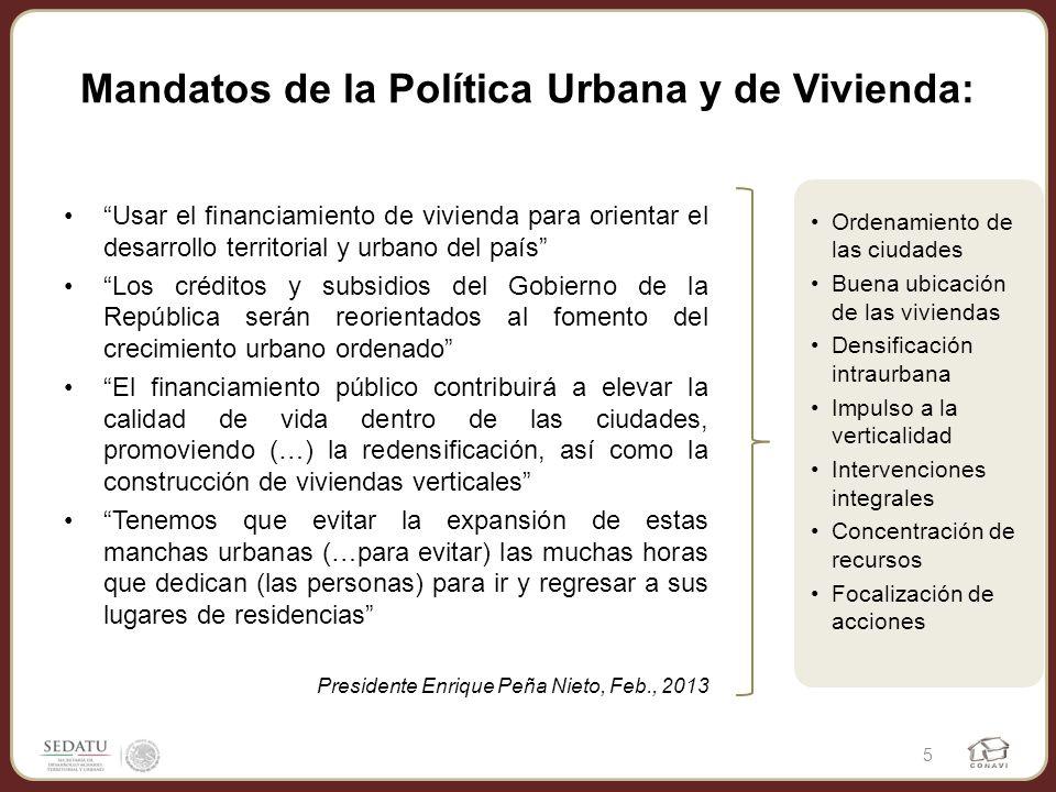 Mandatos de la Política Urbana y de Vivienda: Usar el financiamiento de vivienda para orientar el desarrollo territorial y urbano del país Los crédito
