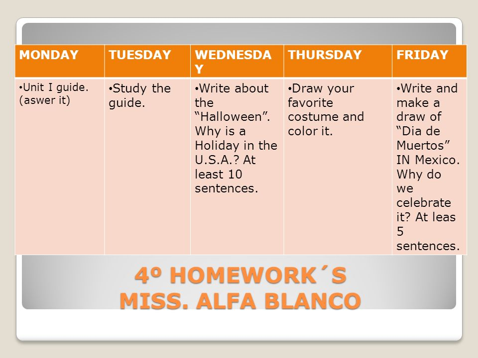 4º HOMEWORK´S MISS. ALFA BLANCO MONDAYTUESDAYWEDNESDA Y THURSDAYFRIDAY Unit I guide. (aswer it) Study the guide. Write about the Halloween. Why is a H