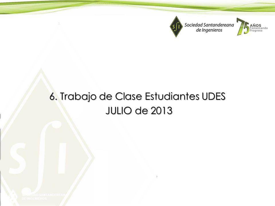SOCIEDAD SANTANDEREANA DE INGENIEROS 6. Trabajo de Clase Estudiantes UDES JULIO de 2013 JULIO de 2013