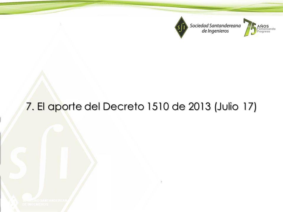 SOCIEDAD SANTANDEREANA DE INGENIEROS 7. El aporte del Decreto 1510 de 2013 (Julio 17)