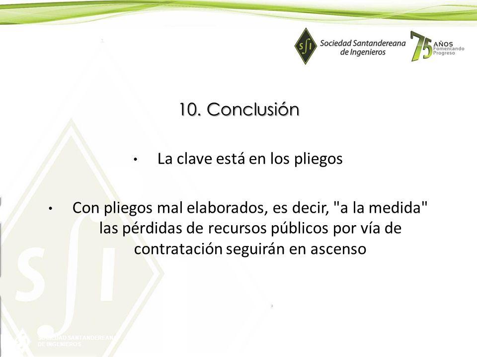 SOCIEDAD SANTANDEREANA DE INGENIEROS 10. Conclusión La clave está en los pliegos Con pliegos mal elaborados, es decir,