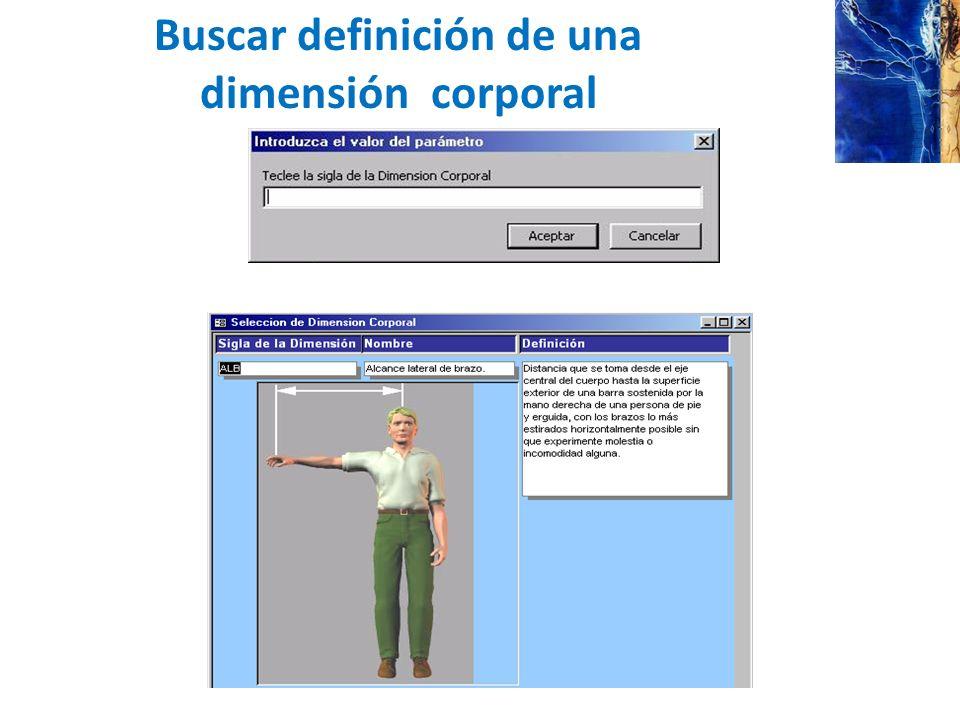 Buscar definición de una dimensión corporal