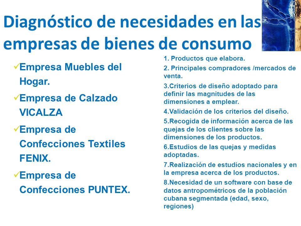 Diagnóstico de necesidades en las empresas de bienes de consumo 1. Productos que elabora. 2. Principales compradores /mercados de venta. 3.Criterios d