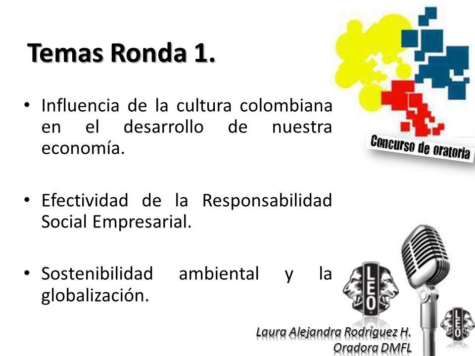 Temas Ronda 1. Influencia de la cultura colombiana en el desarrollo de nuestra economía. Efectividad de la Responsabilidad Social Empresarial. Sosteni