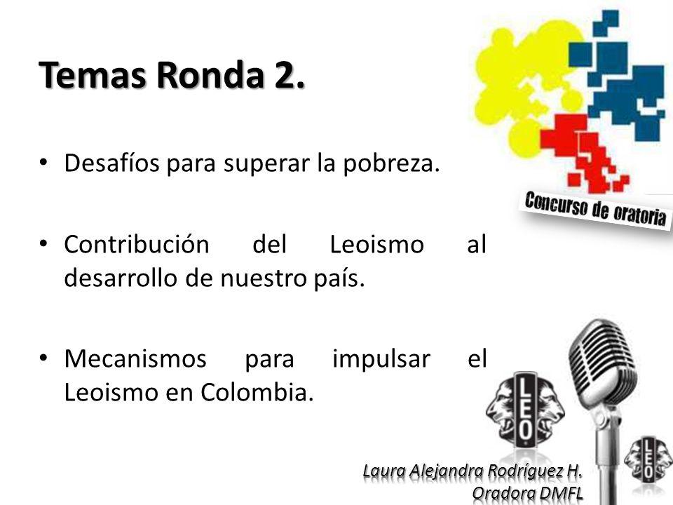 Temas Ronda 2. Desafíos para superar la pobreza. Contribución del Leoismo al desarrollo de nuestro país. Mecanismos para impulsar el Leoismo en Colomb