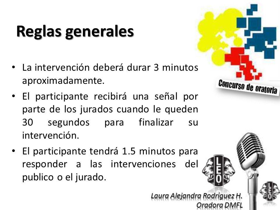 Reglas generales La intervención deberá durar 3 minutos aproximadamente. El participante recibirá una señal por parte de los jurados cuando le queden