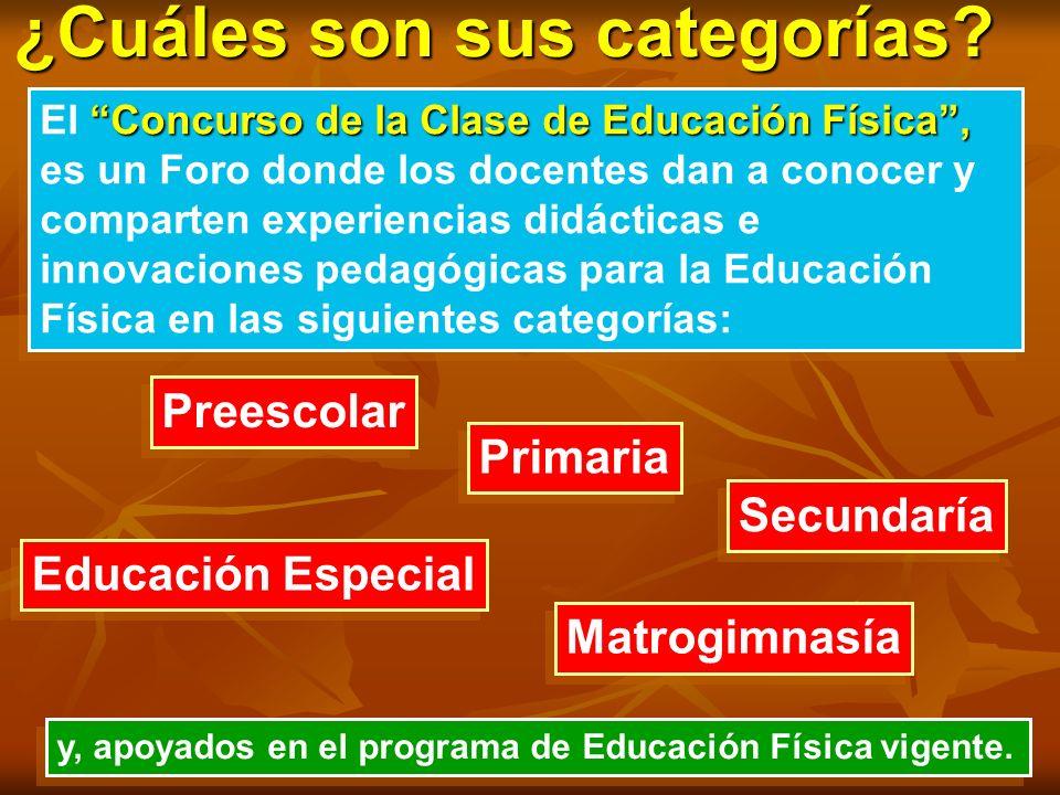 ¿Cuáles son sus categorías? Concurso de la Clase de Educación Física, El Concurso de la Clase de Educación Física, es un Foro donde los docentes dan a