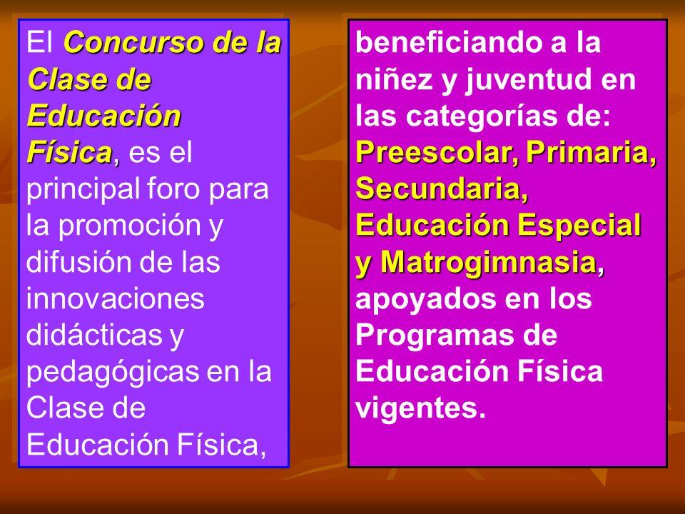 Concurso de la Clase de Educación Física, El Concurso de la Clase de Educación Física, es el principal foro para la promoción y difusión de las innova
