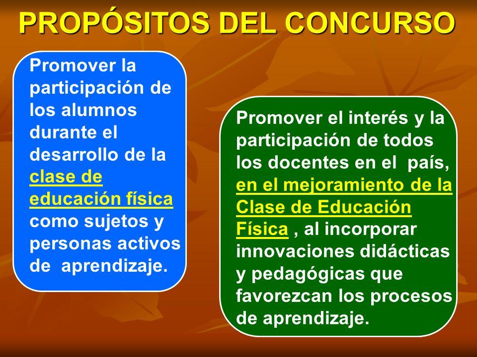 PROPÓSITOS DEL CONCURSO Promover la participación de los alumnos durante el desarrollo de la clase de educación física como sujetos y personas activos