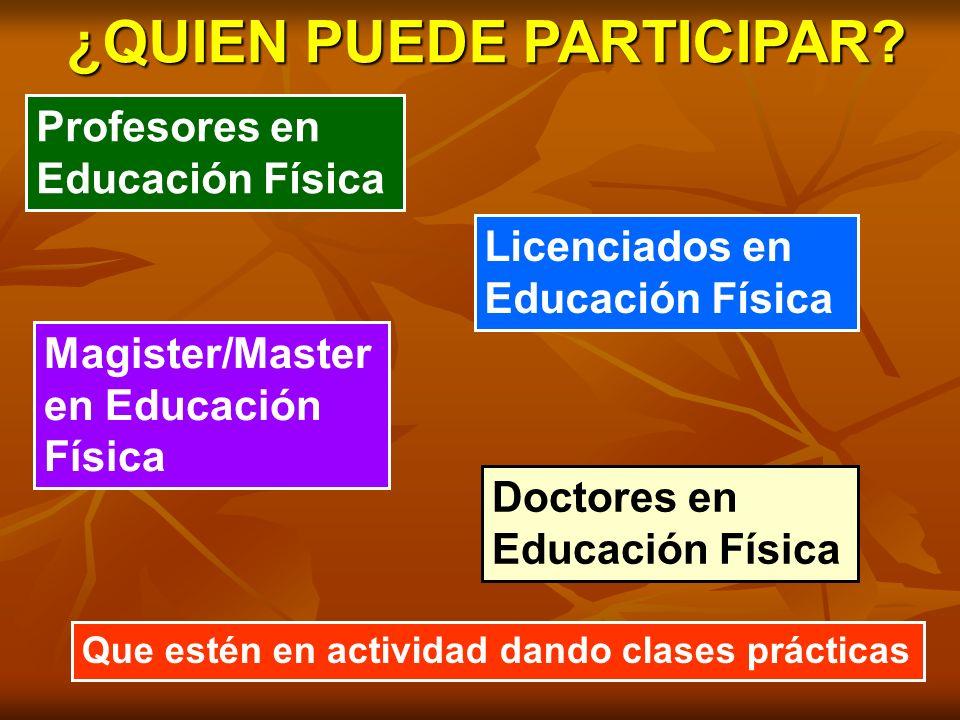 ¿QUIEN PUEDE PARTICIPAR? Profesores en Educación Física Doctores en Educación Física Magister/Master en Educación Física Licenciados en Educación Físi