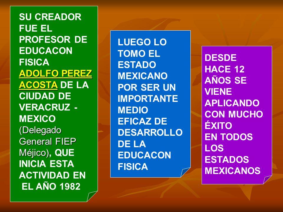 LUEGO LO TOMO EL ESTADO MEXICANO POR SER UN IMPORTANTE MEDIO EFICAZ DE DESARROLLO DE LA EDUCACON FISICA DESDE HACE 12 AÑOS SE VIENE APLICANDO CON MUCHO ÉXITO EN TODOS LOS ESTADOS MEXICANOS SU CREADOR FUE EL PROFESOR DE EDUCACON FISICA ADOLFO PEREZ ACOSTA ADOLFO PEREZ ACOSTA DE LA CIUDAD DE VERACRUZ - MEXICO (Delegado General FIEP Méjico) (Delegado General FIEP Méjico), QUE INICIA ESTA ACTIVIDAD EN EL AÑO 1982