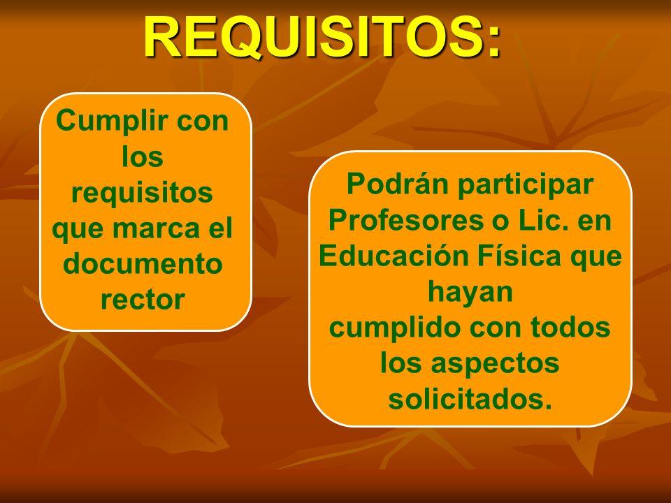 REQUISITOS:REQUISITOS: Cumplir con los requisitos que marca el documento rector Podrán participar Profesores o Lic. en Educación Física que hayan cump
