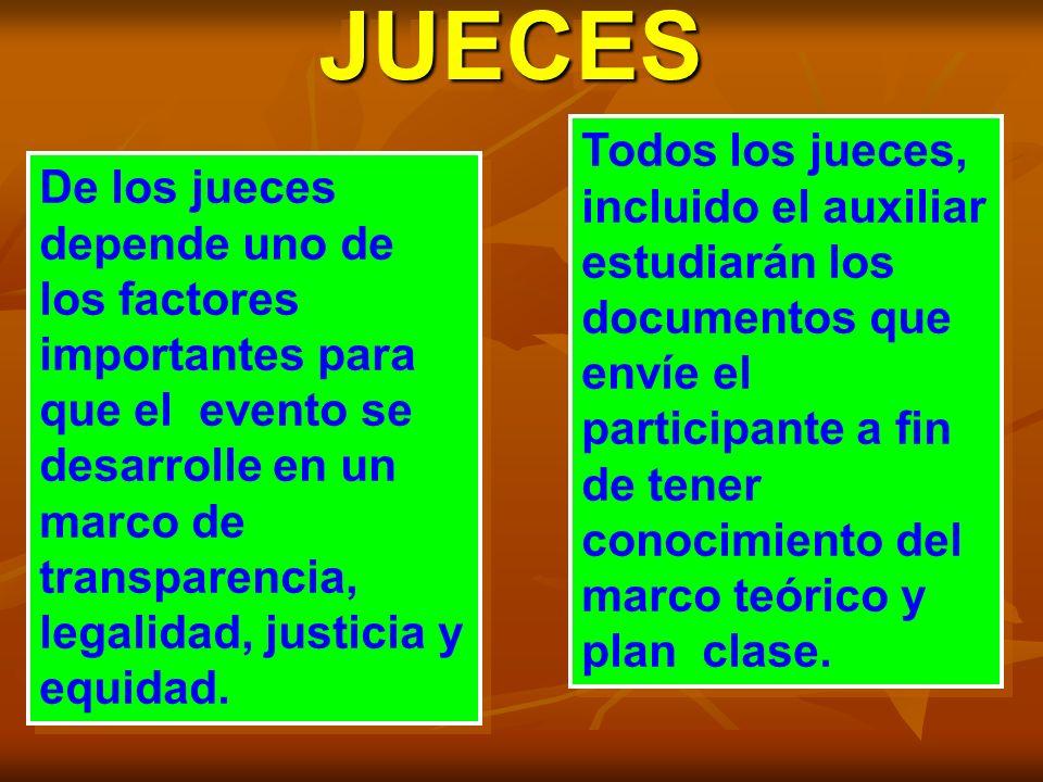 JUECESJUECES De los jueces depende uno de los factores importantes para que el evento se desarrolle en un marco de transparencia, legalidad, justicia y equidad.