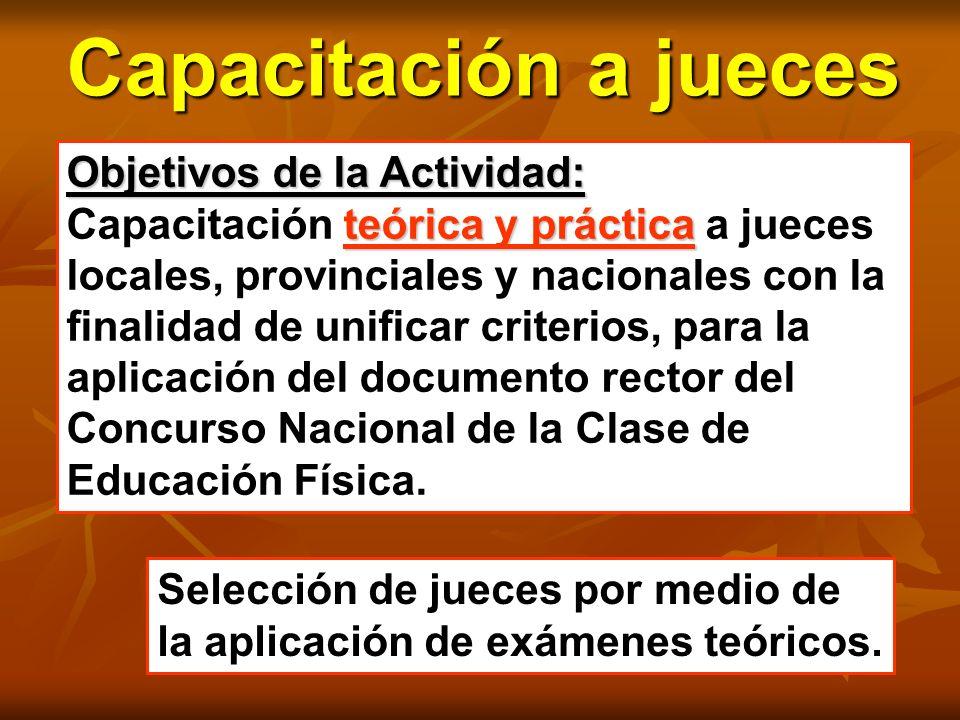 Objetivos de la Actividad: teórica y práctica Capacitación teórica y práctica a jueces locales, provinciales y nacionales con la finalidad de unificar