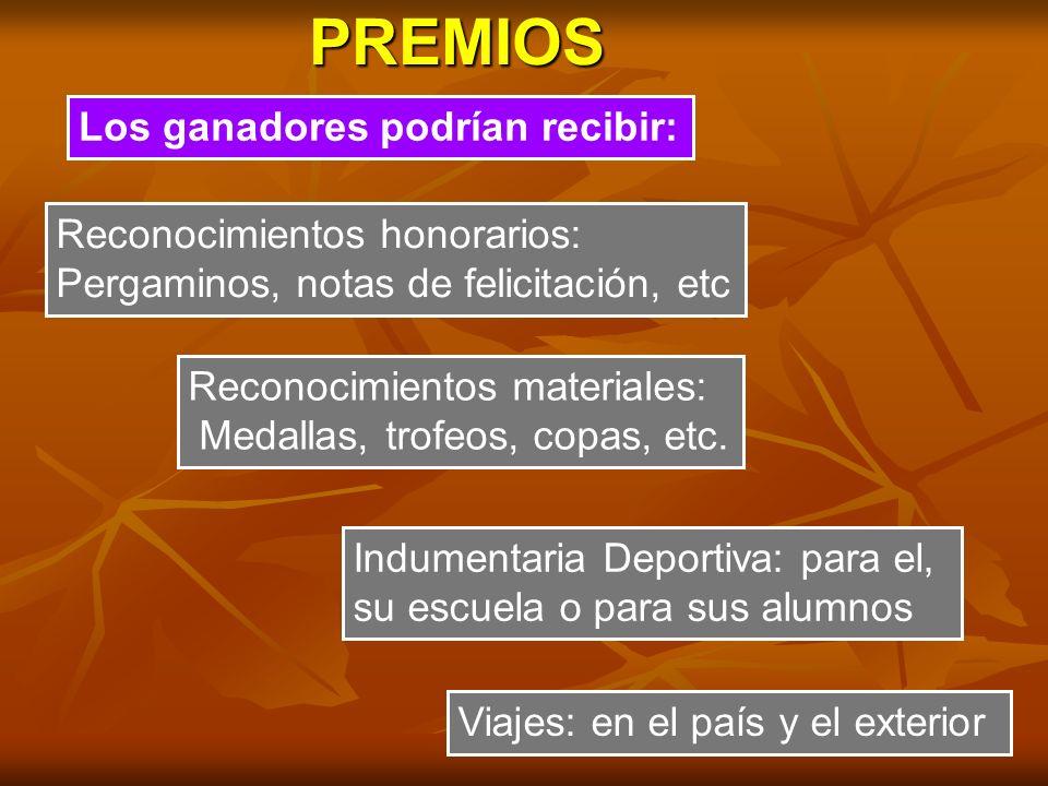 PREMIOS Los ganadores podrían recibir: Reconocimientos honorarios: Pergaminos, notas de felicitación, etc Reconocimientos materiales: Medallas, trofeo
