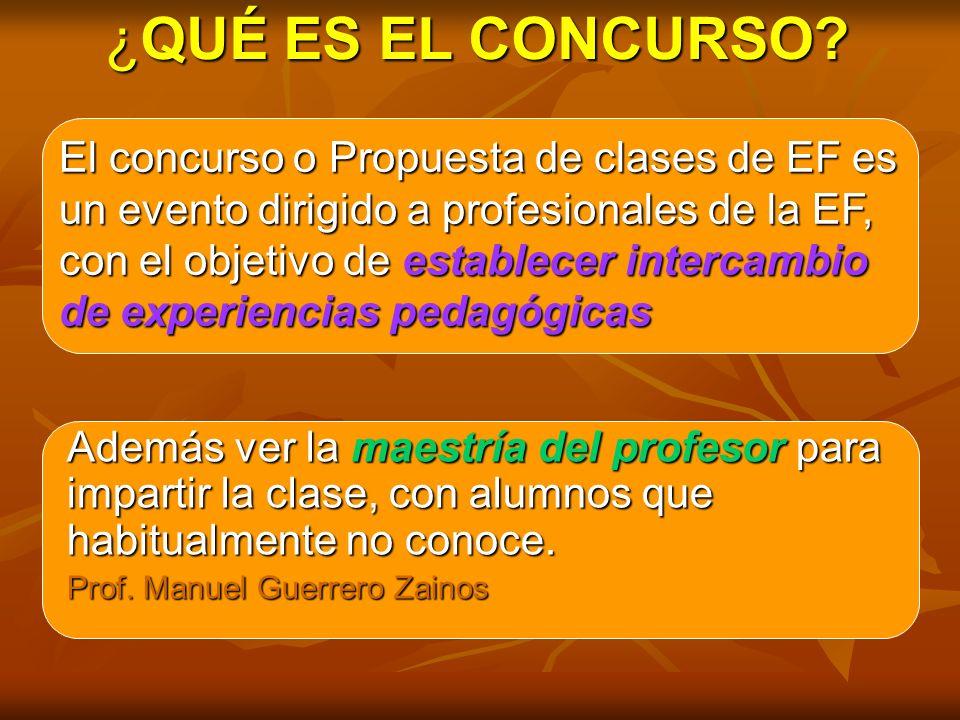 Además ver la maestría del profesor para impartir la clase, con alumnos que habitualmente no conoce. Prof. Manuel Guerrero Zainos El concurso o Propue