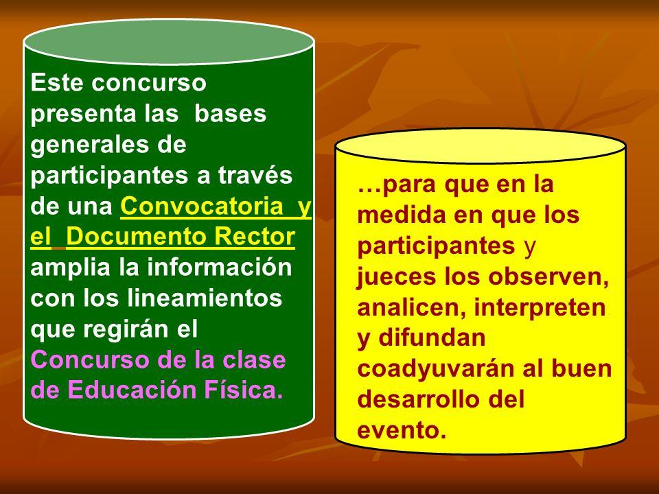 Este concurso presenta las bases generales de participantes a través de una Convocatoria y el Documento Rector amplia la información con los lineamien
