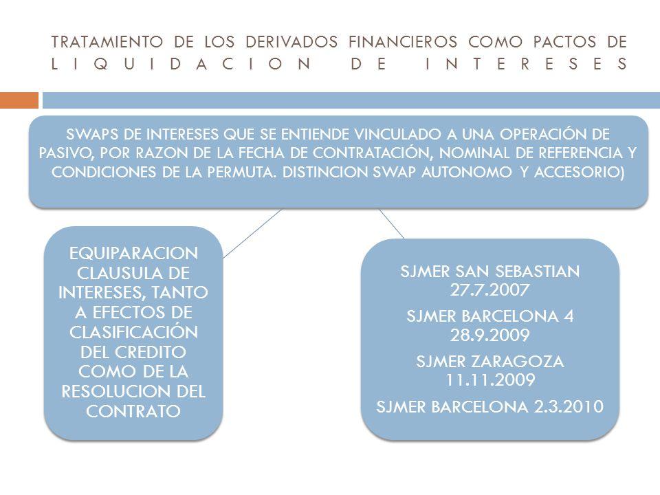 TRATAMIENTO DE LOS DERIVADOS FINANCIEROS COMO PACTOS DE LIQUIDACION DE INTERESES SWAPS DE INTERESES QUE SE ENTIENDE VINCULADO A UNA OPERACIÓN DE PASIV