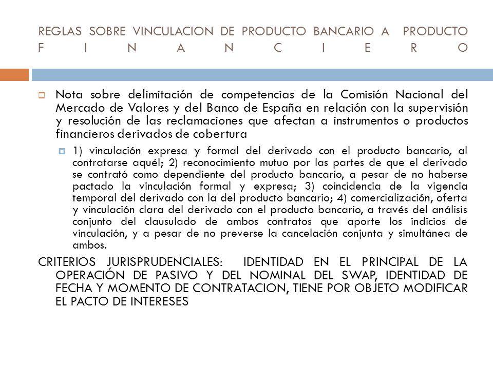 REGLAS SOBRE VINCULACION DE PRODUCTO BANCARIO A PRODUCTO FINANCIERO Nota sobre delimitación de competencias de la Comisión Nacional del Mercado de Val