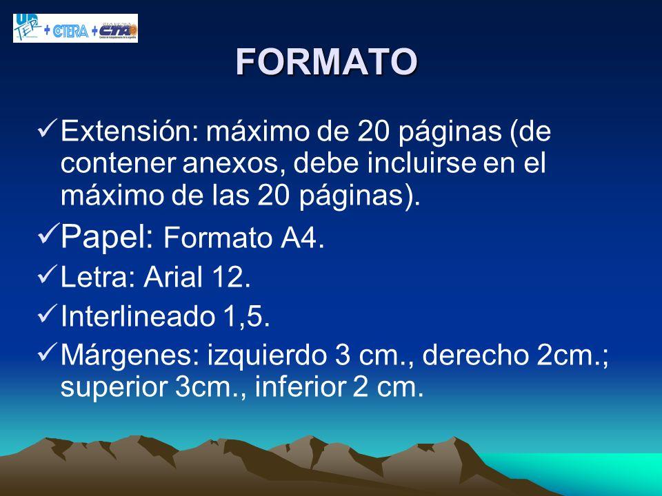 FORMATO Extensión: máximo de 20 páginas (de contener anexos, debe incluirse en el máximo de las 20 páginas). Papel: Formato A4. Letra: Arial 12. Inter