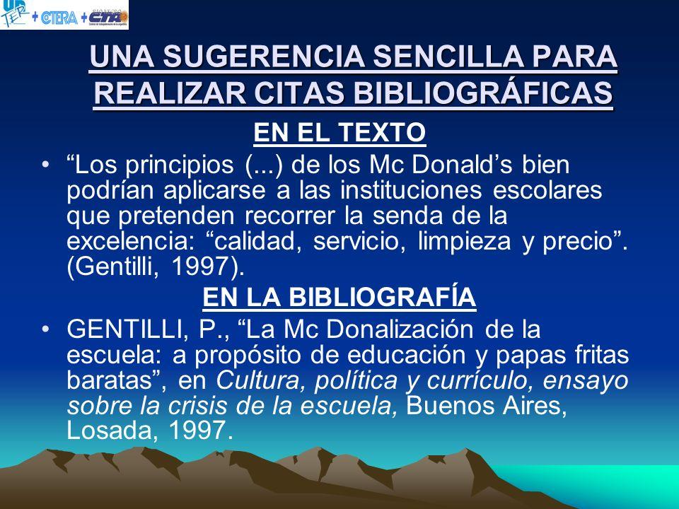 UNA SUGERENCIA SENCILLA PARA REALIZAR CITAS BIBLIOGRÁFICAS EN EL TEXTO Los principios (...) de los Mc Donalds bien podrían aplicarse a las institucion