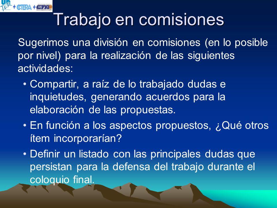 Trabajo en comisiones Sugerimos una división en comisiones (en lo posible por nivel) para la realización de las siguientes actividades: Compartir, a r