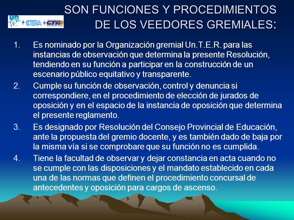 SON FUNCIONES Y PROCEDIMIENTOS DE LOS VEEDORES GREMIALES : 1.Es nominado por la Organización gremial Un.T.E.R. para las instancias de observación que