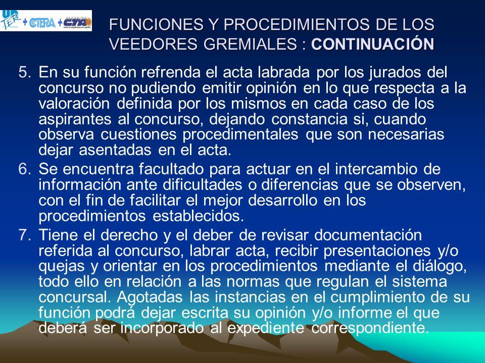FUNCIONES Y PROCEDIMIENTOS DE LOS VEEDORES GREMIALES : CONTINUACIÓN 5.En su función refrenda el acta labrada por los jurados del concurso no pudiendo