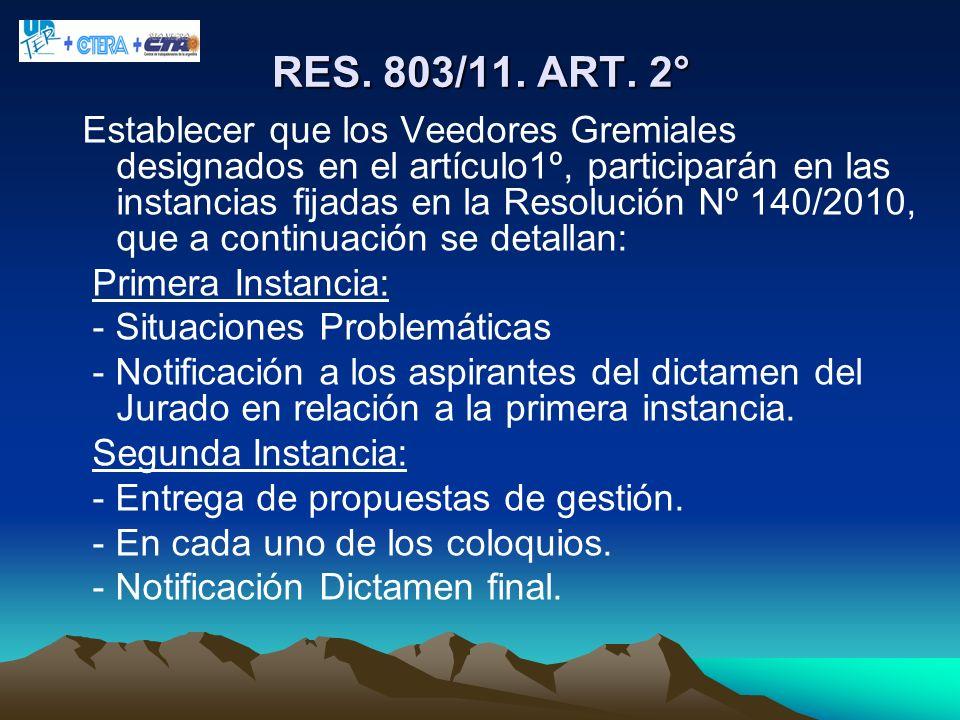 RES. 803/11. ART. 2° Establecer que los Veedores Gremiales designados en el artículo1º, participarán en las instancias fijadas en la Resolución Nº 140