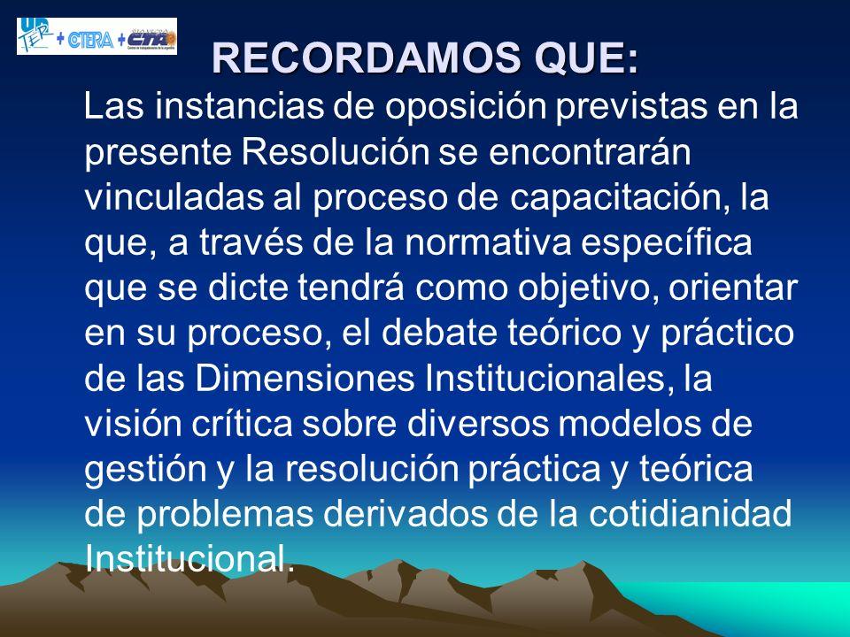 RECORDAMOS QUE: Las instancias de oposición previstas en la presente Resolución se encontrarán vinculadas al proceso de capacitación, la que, a través