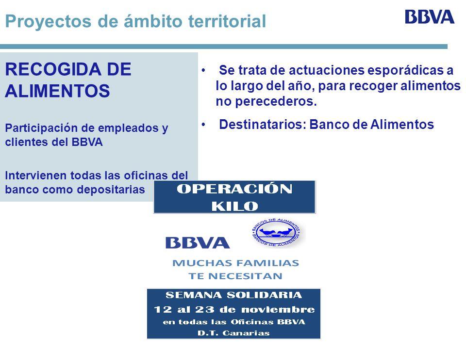 RECOGIDA DE ALIMENTOS Participación de empleados y clientes del BBVA Intervienen todas las oficinas del banco como depositarias Se trata de actuacione