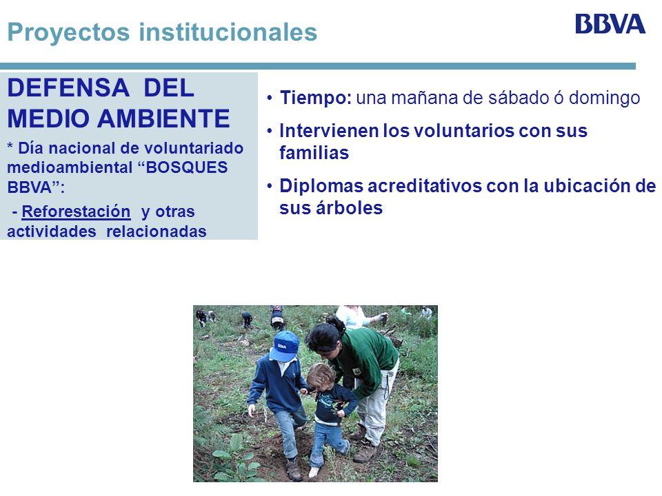 DEFENSA DEL MEDIO AMBIENTE * Día nacional de voluntariado medioambiental BOSQUES BBVA: - Reforestación y otras actividades relacionadas Tiempo: una ma