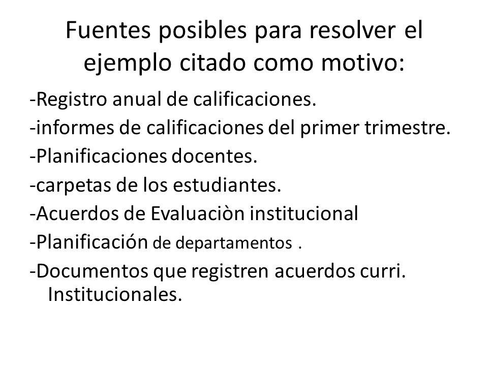 Fuentes posibles para resolver el ejemplo citado como motivo: -Registro anual de calificaciones. -informes de calificaciones del primer trimestre. -Pl