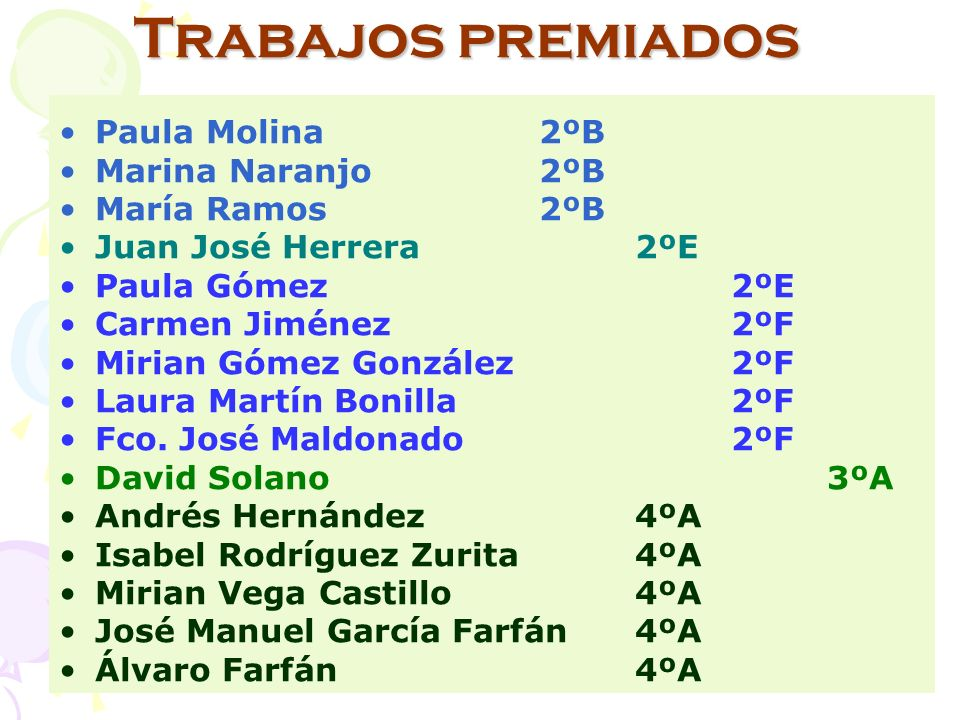Trabajos premiados Paula Molina2ºB Marina Naranjo2ºB María Ramos2ºB Juan José Herrera2ºE Paula Gómez2ºE Carmen Jiménez2ºF Mirian Gómez González 2ºF Laura Martín Bonilla2ºF Fco.